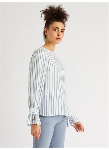 Vekem-Limited Edition Sıfır Yaka Uzun Kol Çizgili Bluz Mavi